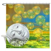 Peace - Golden and Emerald Serenity Shower Curtain