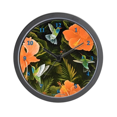 Hummingbird Buffet  Art / photography Wall Clock by CafePress