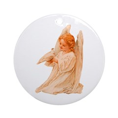 Vicotrian Angel Christmas Ornament (Round)