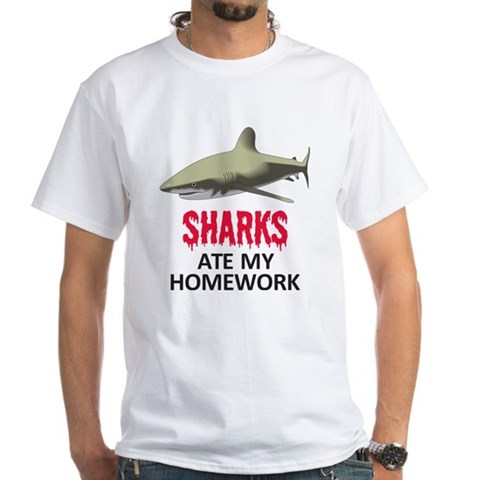 Product Image of Sharks ate my Homework White T-Shirt