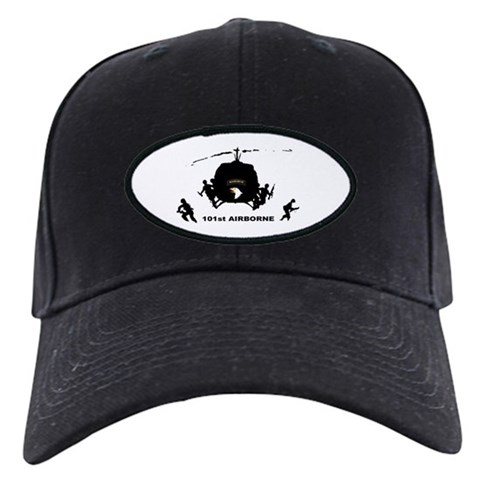 101st AIRBORNE  Military Black Cap by CafePress