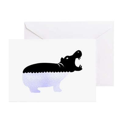 Half A Hippo Greeting Cards