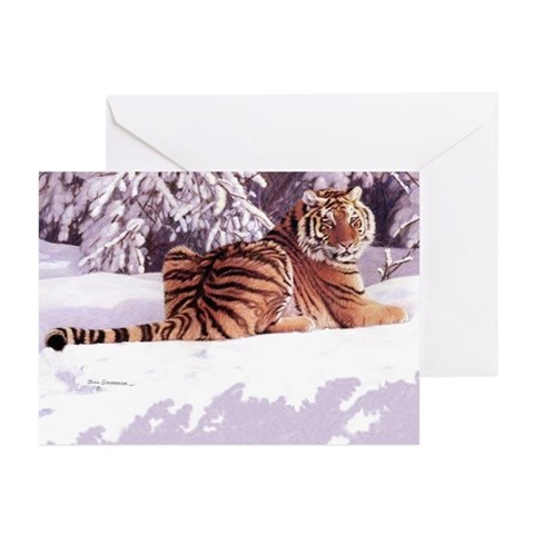 Siberian Snow Christmas Cards Pk of 10 Tiger Greeting Cards Pk of 10 by CafePress