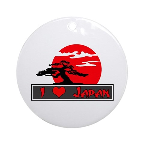 I Heart Love Japan Ornament Round Japanese Round Ornament by CafePress