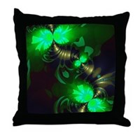 Irish Goblin Emerald Gold Ribbons Throw Pillow