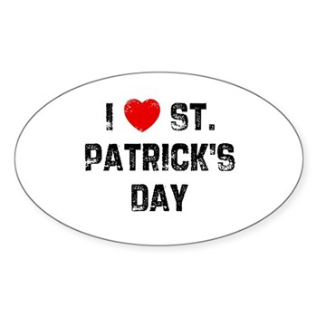 I Love  St. Patrick's Day Oval Sticker