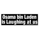 Osama bin Laden Laughs Sticker (Bumper)