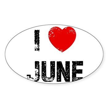 I Love  June Oval Sticker