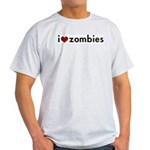 I love (heart) zombies Grey T-Shirt