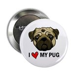 "I Heart My Pug 2.25"" Button (10 pack)"