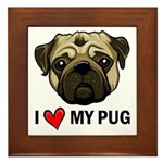 I Heart My Pug Framed Tile