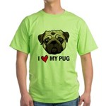I Heart My Pug Green T-Shirt