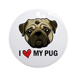I Heart My Pug Ornament (Round)