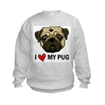 I Heart My Pug Kids Sweatshirt