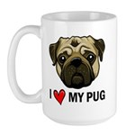 I Heart My Pug Large Mug