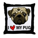 I Heart My Pug Throw Pillow