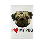 I Heart My Pug Rectangle Magnet (10 pack)
