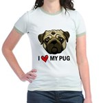 I Heart My Pug Jr. Ringer T-Shirt