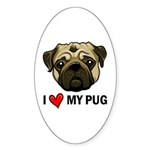 I Heart My Pug Sticker (Oval)