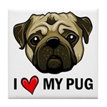 I Heart My Pug Tile Coaster