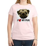 I Heart My Pug Women's Pink T-Shirt