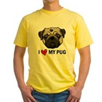 I Heart My Pug Yellow T-Shirt