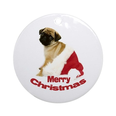 Holiday Pug Ornament Round Pets Round Ornament by CafePress