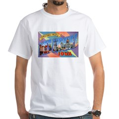Des Moines Iowa Greetings (Front) White T-Shirt