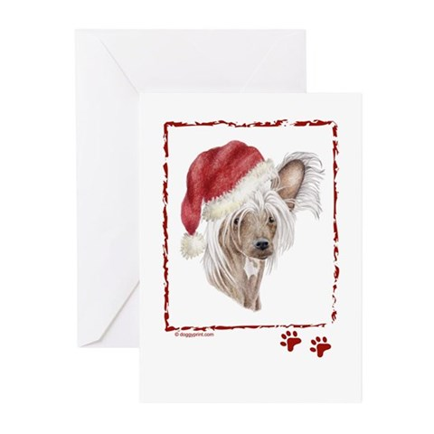 Happy Holidays Chinese Crested dog Greeting Card Pets Greeting Cards Pk of 10 by CafePress