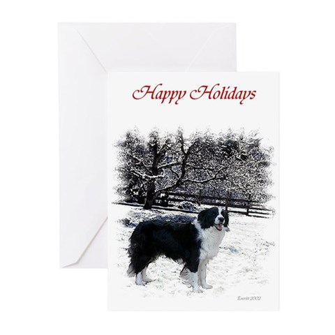 Border Collie in the Snow Xmas Card Collie Greeting Cards Pk of 10 by CafePress