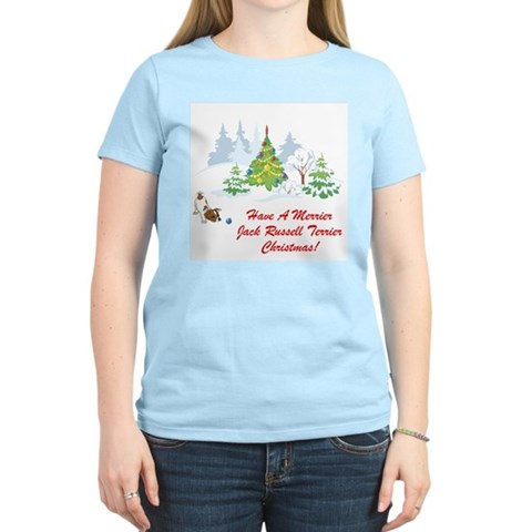 Jack Russell Terrier Xmas Women's Pink T-Shirt Pets Women's Light T-Shirt by CafePress