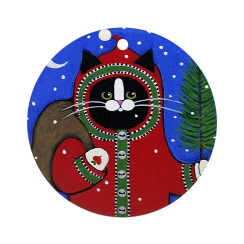 Black Tuxedo SANTA Cat Porcelain Ornament Round Round Ornament by CafePress