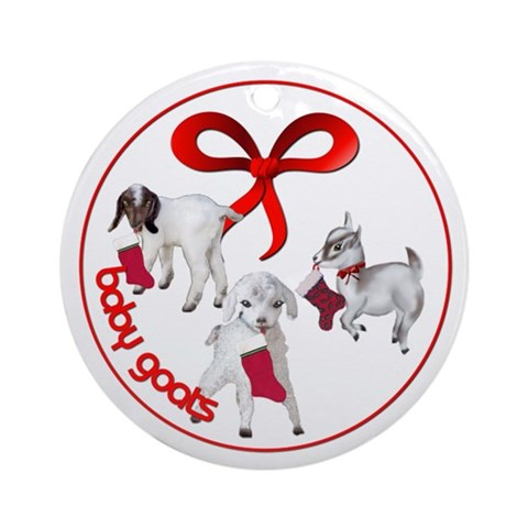 Goat Christmas Baby Stockings with Tree Ornament Christmas Round Ornament by CafePress