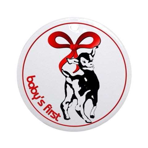 Goat Baby's First Christmas Ornament Christmas Round Ornament by CafePress