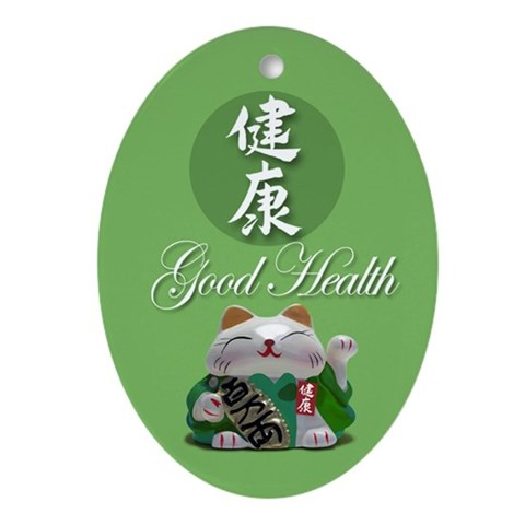 Japanese Fortune Cats Ornament- Good Health Japanese Oval Ornament by CafePress