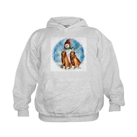 Golden Retriever Christmas Gifts Art Kids Hoodie by CafePress