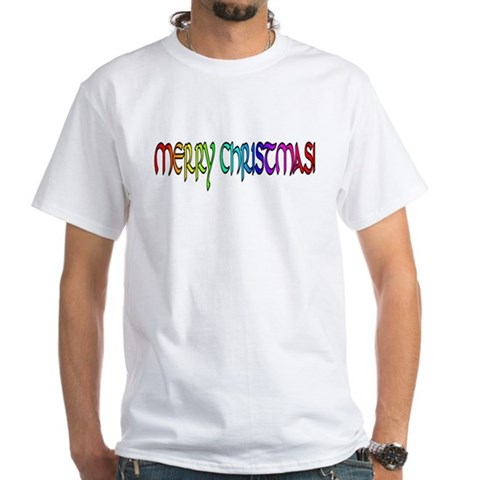 RAINBOW LETTERED MERRY XMAS Xmas White T-Shirt by CafePress