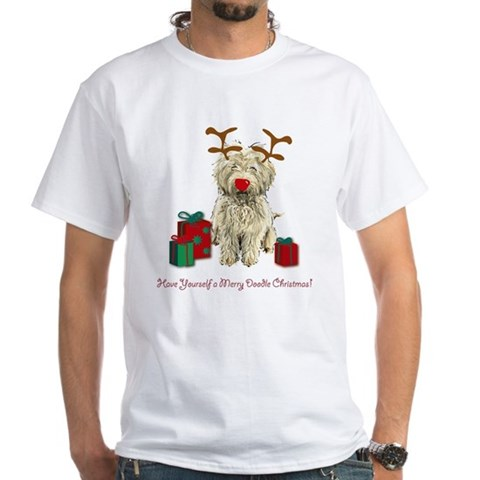 Product Image of Merry Doodle Christmas White T-Shirt