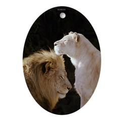 Lion and Lioness Yin/Yang Ornament (Oval)