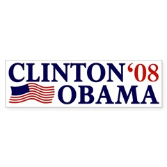 Clinton-Obama '08 Bumper Sticker