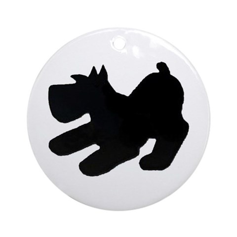 Schnauzer Pup Silhouette Pets Round Ornament By Cafepress