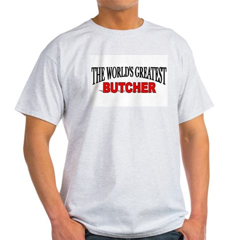 The World's Greatest Butcher Ash Grey T-Shirt Xmas Light T-Shirt by CafePress