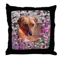Trista, Rescue Dog in Flowers Throw Pillow