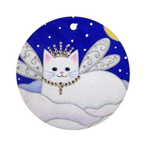White CAT Fairy Princess Porcelain Ornament Round Ornament by CafePress