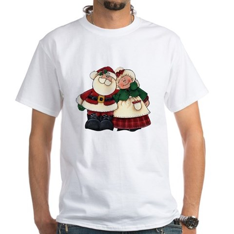 Mr. Mrs. Claus Holiday White T-Shirt by CafePress