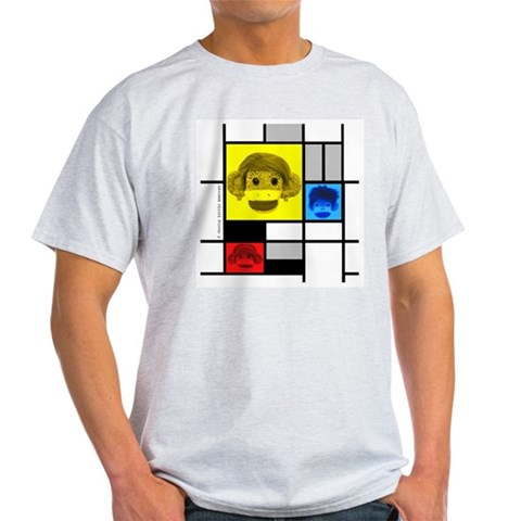 Mondrian Sock Monkeys Ash Grey T-Shirt Fine art Light T-Shirt by CafePress