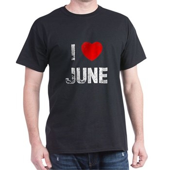 I Love  June Black T-Shirt