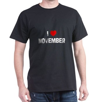 I Love  November Black T-Shirt
