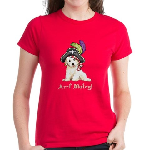 Bichon Pirate Cute Women's Dark T-Shirt by CafePress