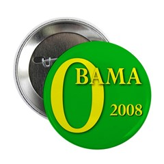 Green Obama for President 2.25 Button (100 pack)